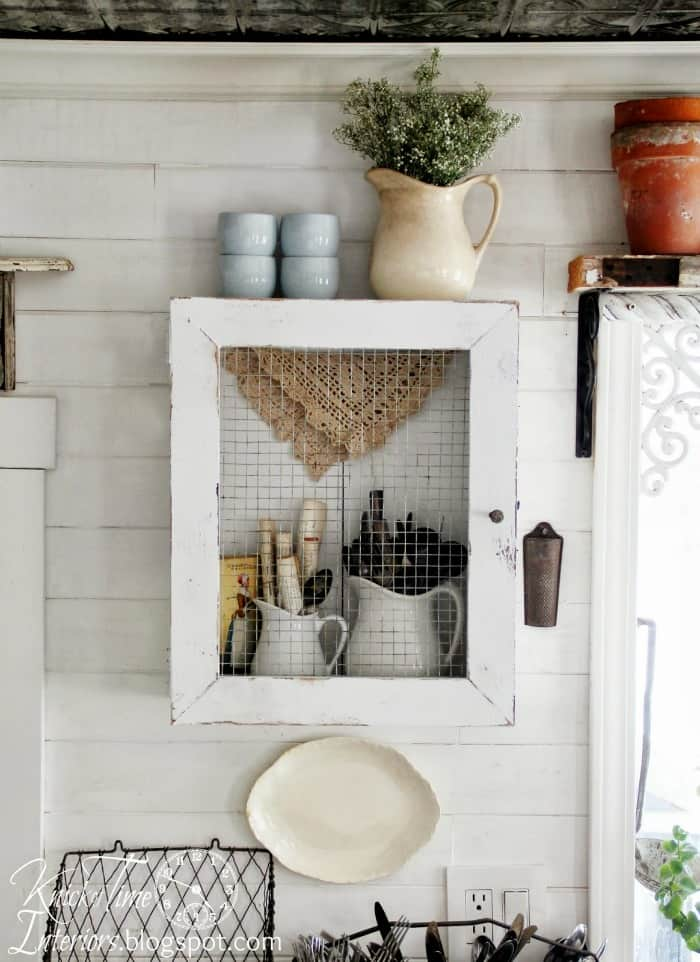 Wire and wooden crate farmhouse cabinet