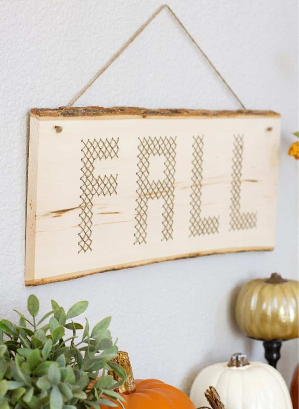 Wood plank cross stitch diy