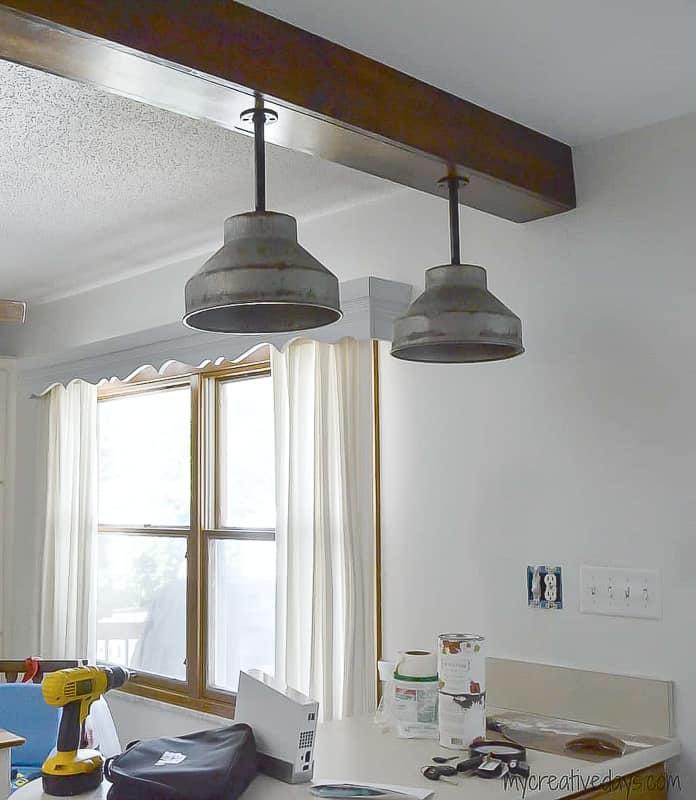 Wooden beam farmhouse light fixtures