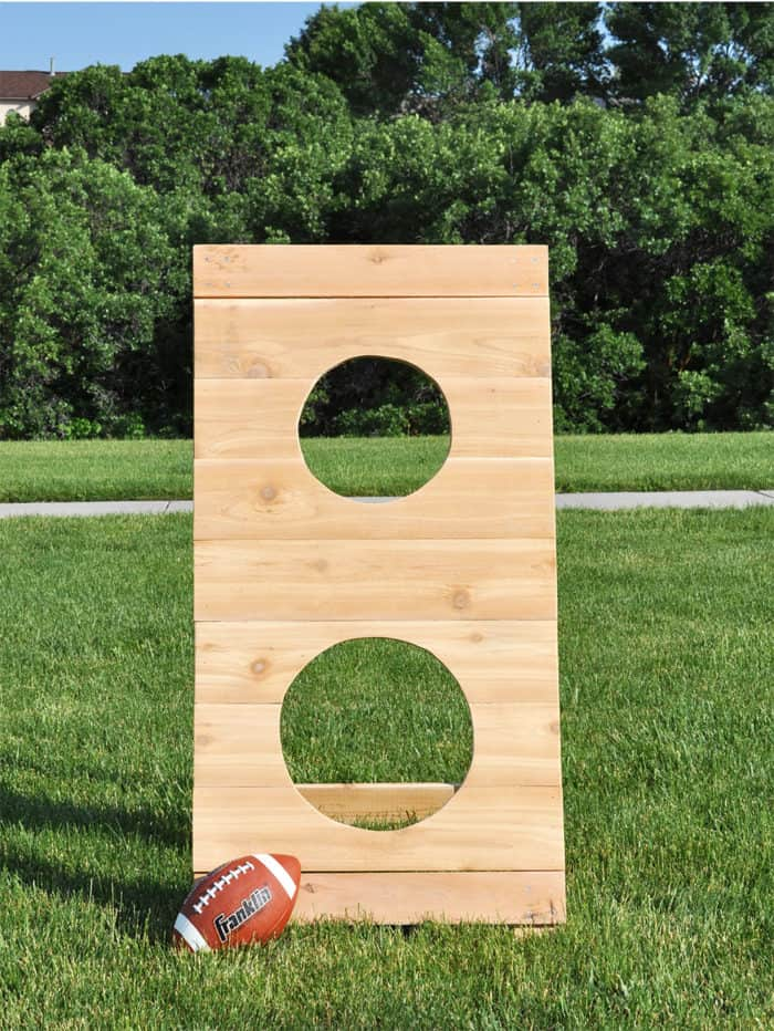 Wooden football toss