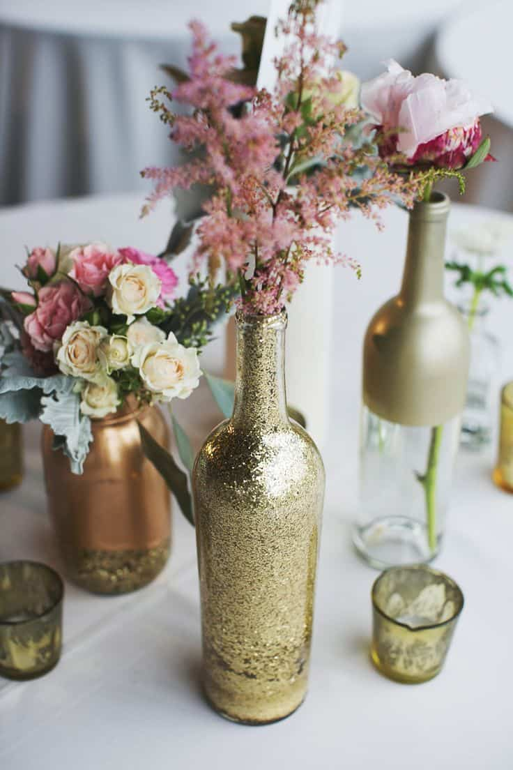 Barn wedding glitter bottle centerpieces diy