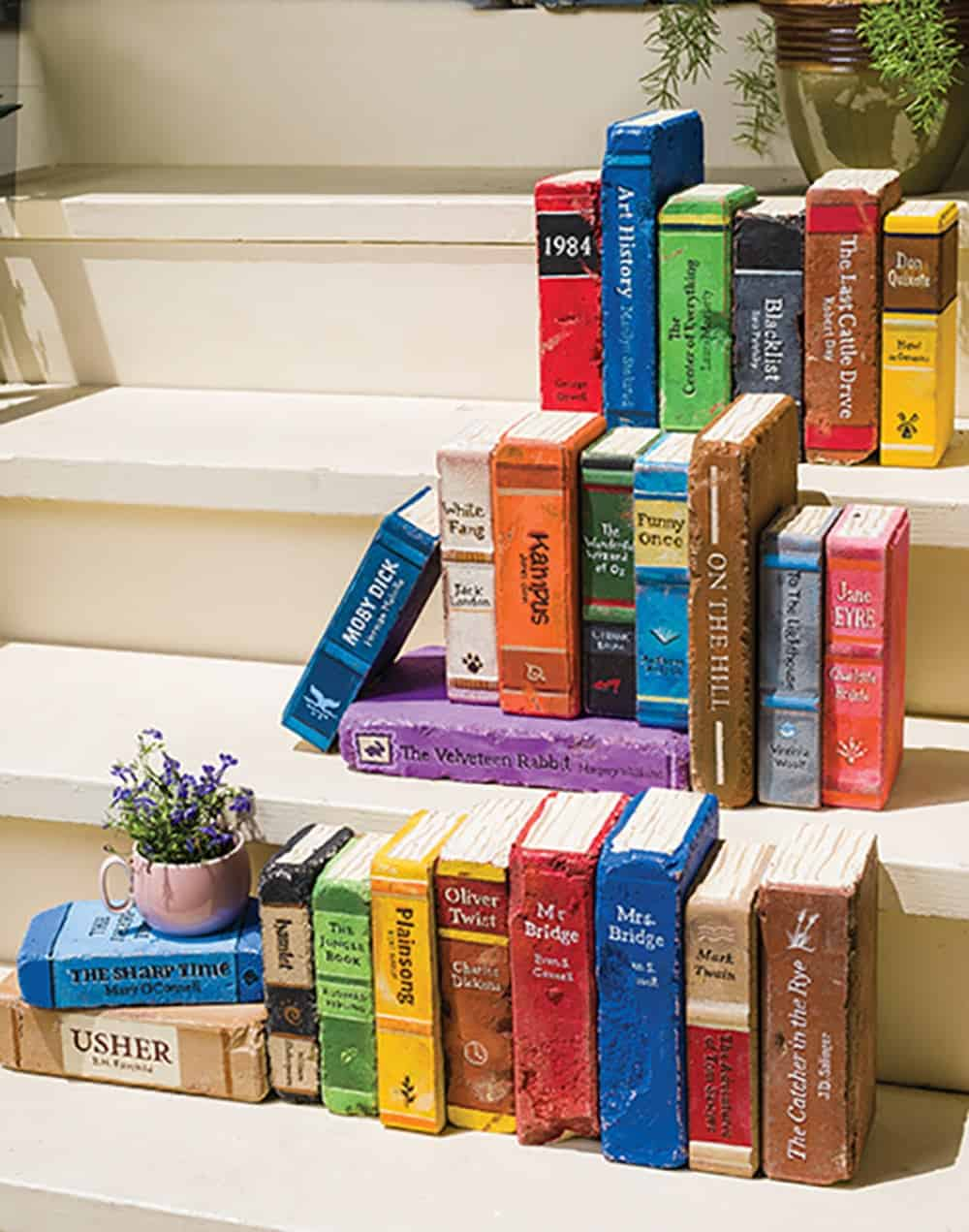 Book painted bricks diy