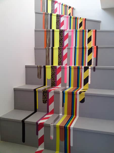 Bright patterned washi tape stairs