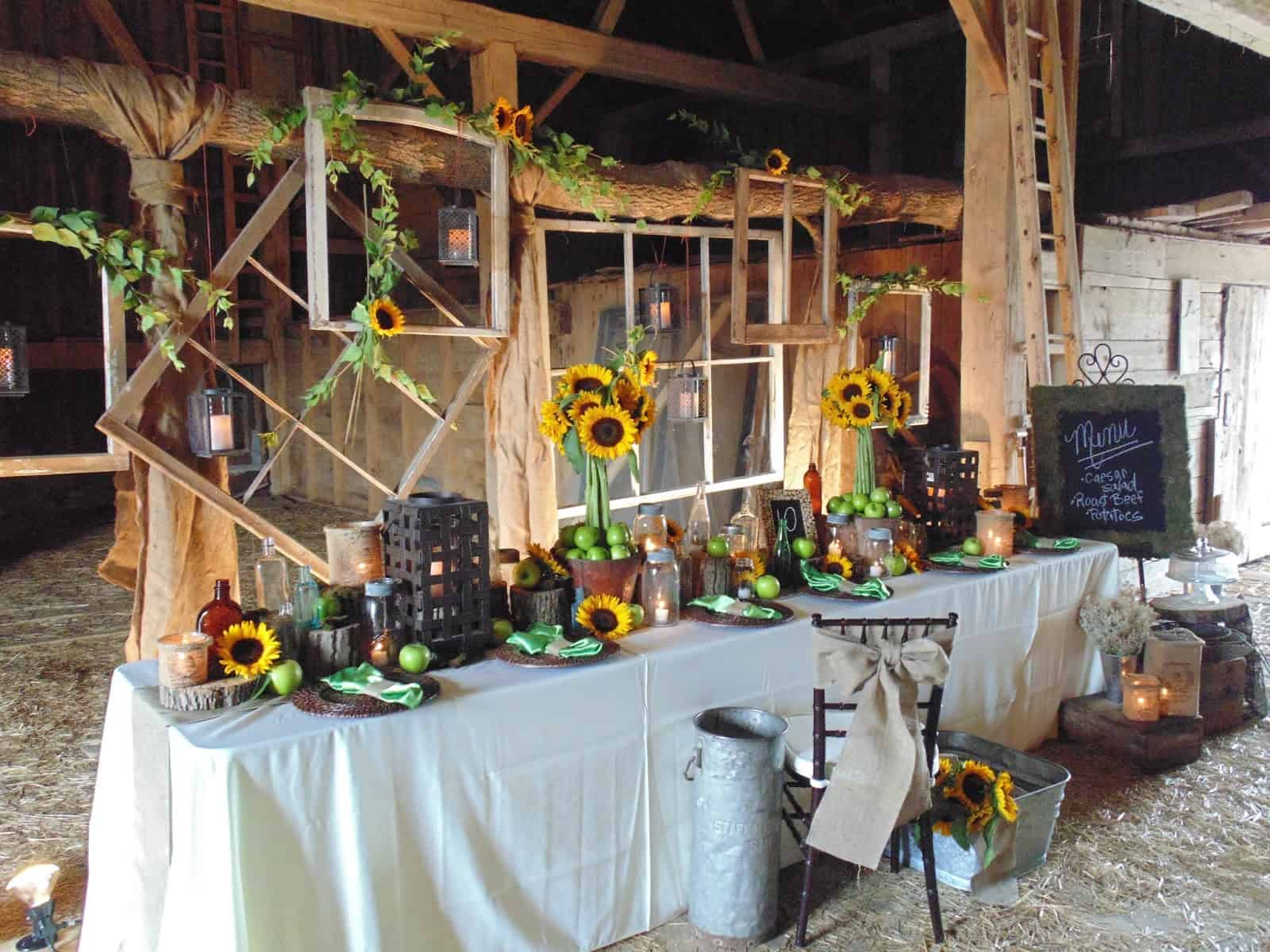 Diy barn wedding sunflower decor