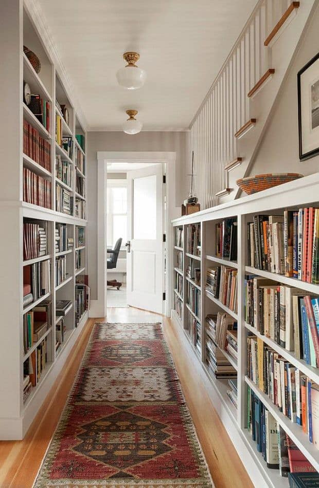 Diy built in hallway bookshelves