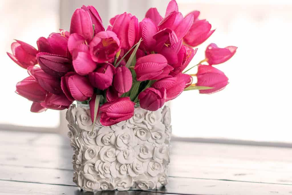 Diy clay flower vase