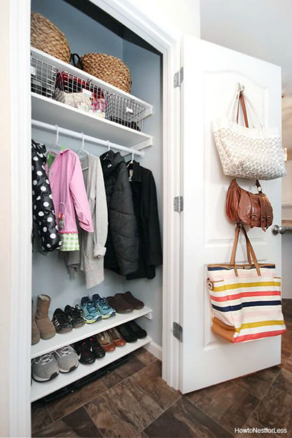 Diy closet door bag storage 2