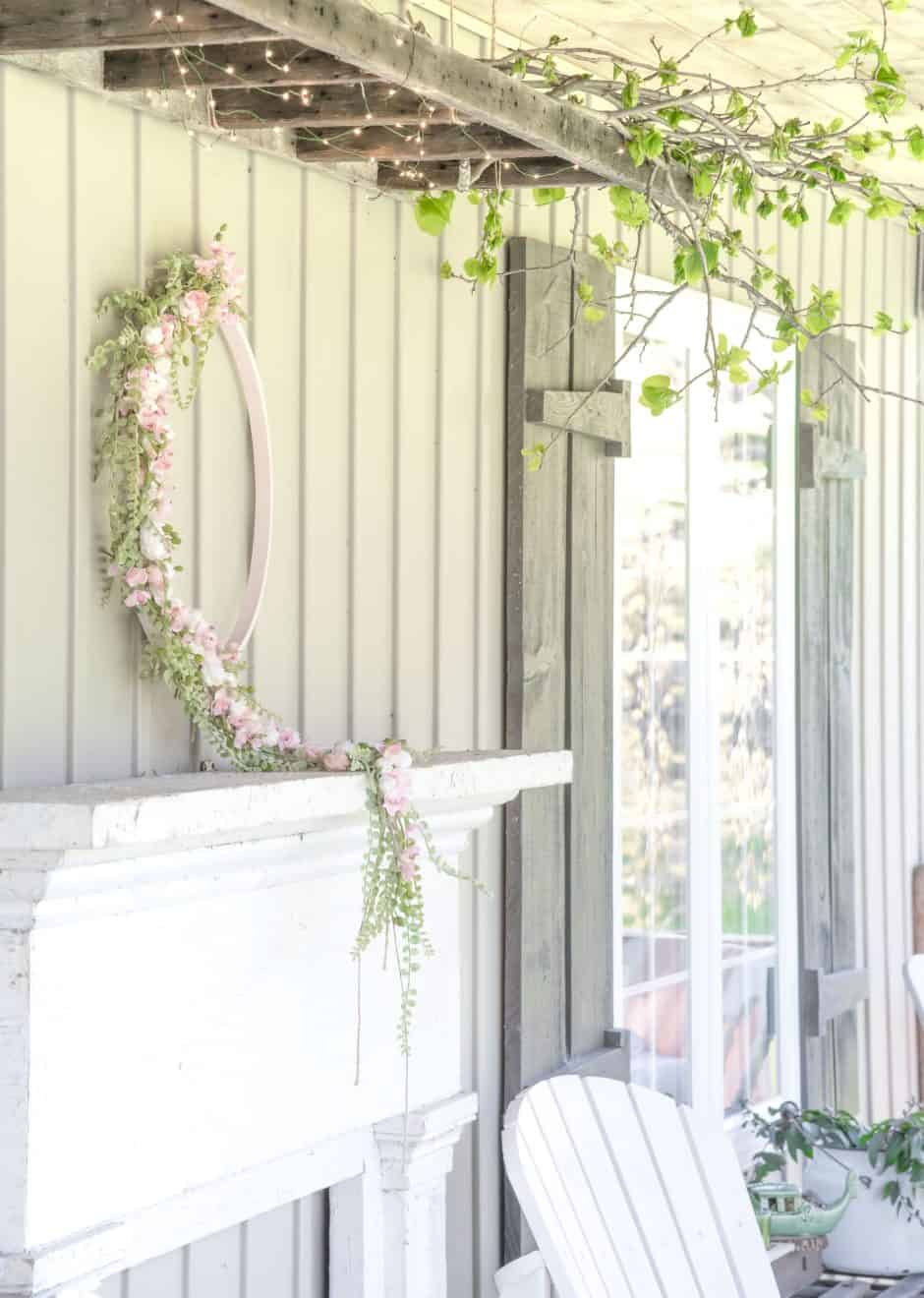 Diy floral wreath over a mantel