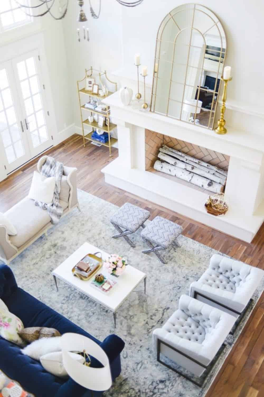Diy golden and cream fireplace mantel