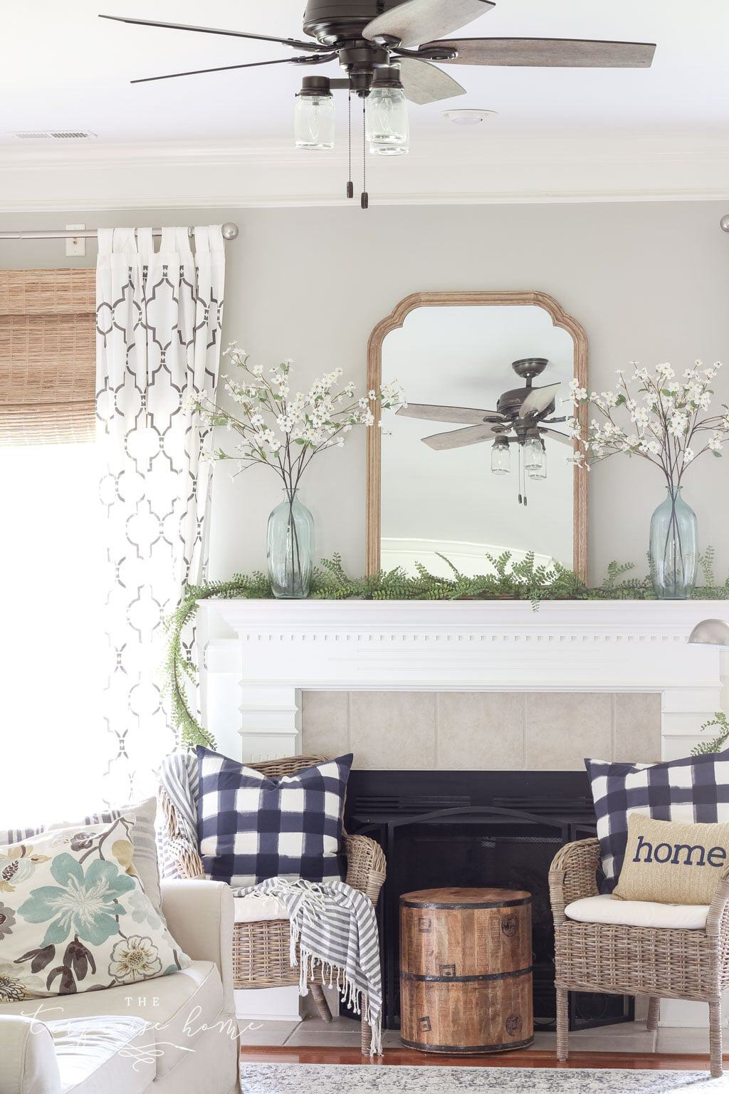 Diy greenery mantel