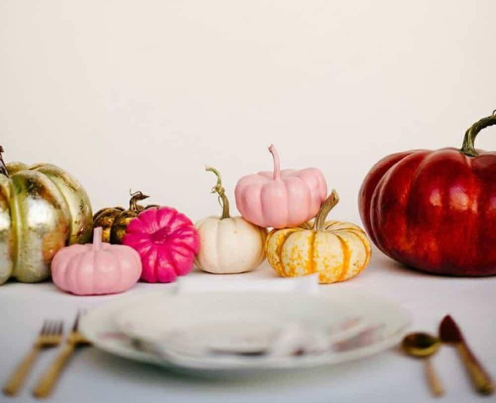 Diy painted pumpkins centerpieces