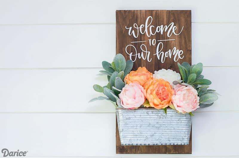 Diy welcome sign with florals