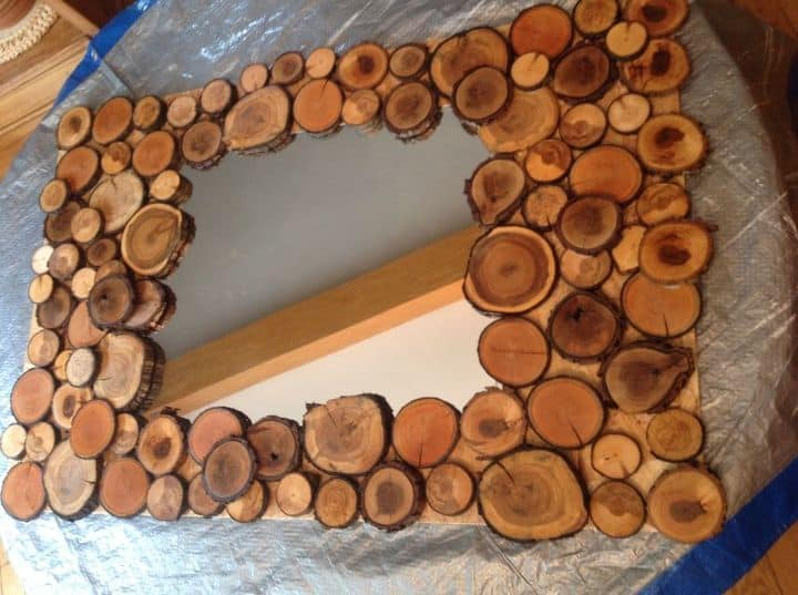 Diy wood sliced mirror