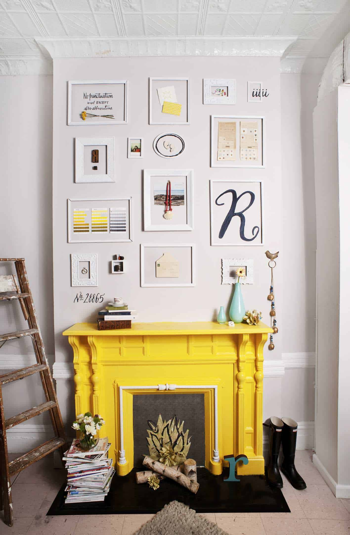 Gallery wall over mantel