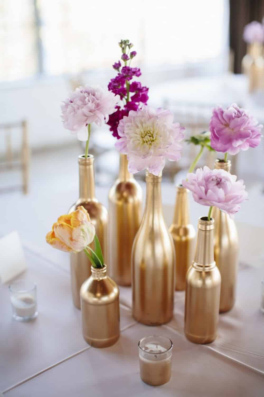 Gold painted bottles diy