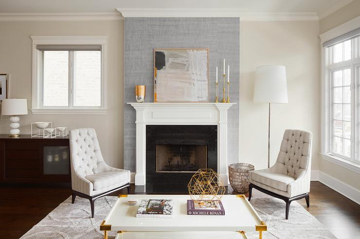 Gray wallpaper on fireplace wall