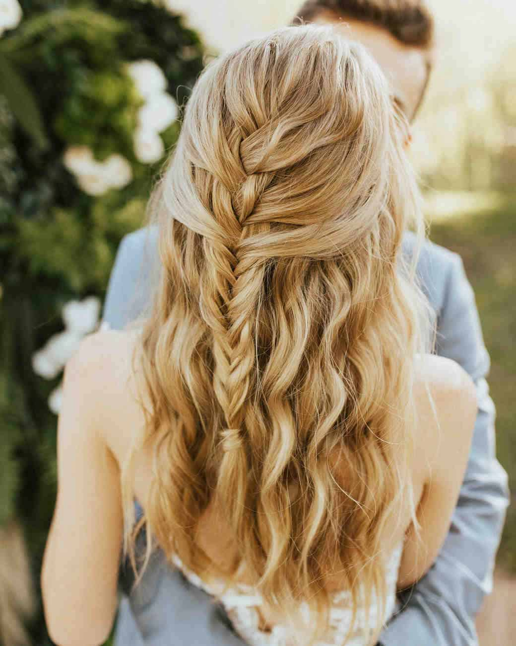 Half up fishtail braid wedding hair