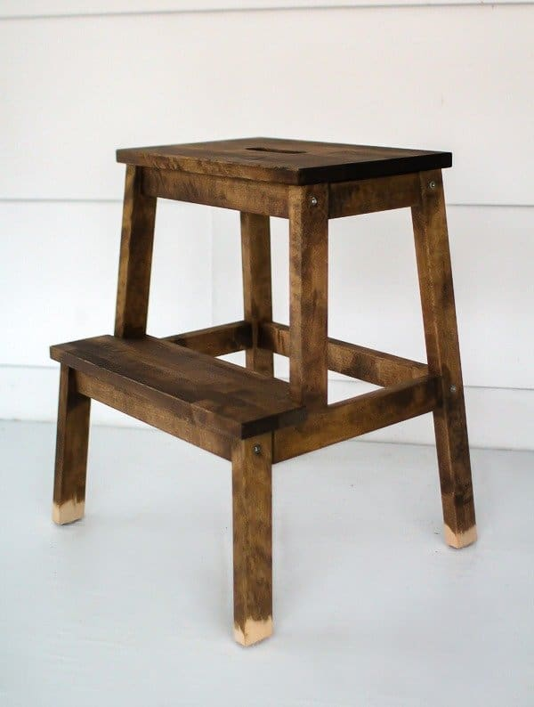 Ikea step stool hack with stain