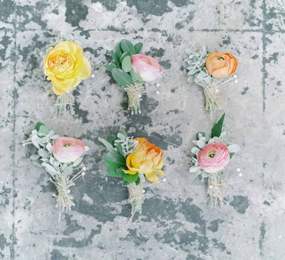 Mixed boutonnieres diy barn wedding