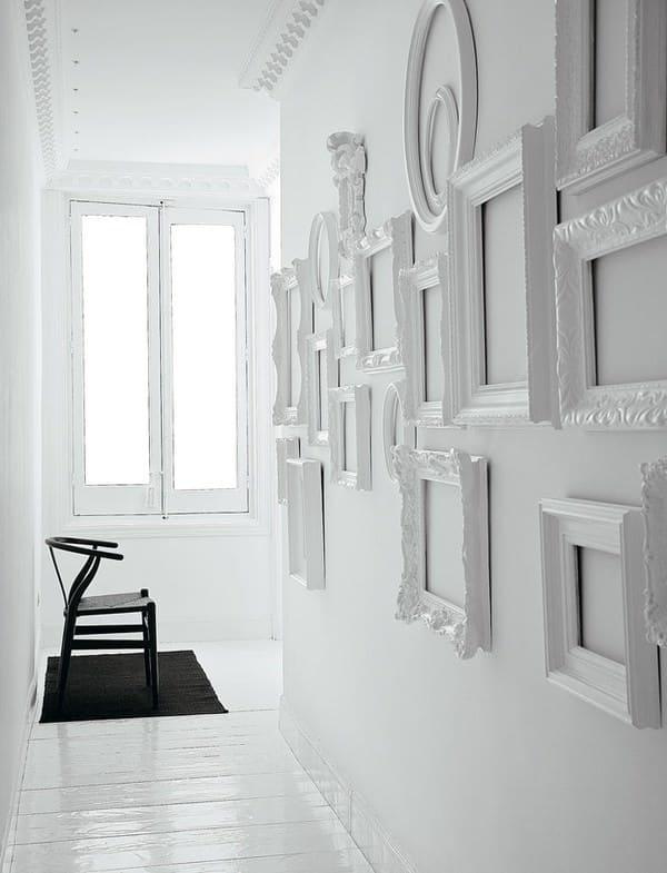 Monochromatic frames hallway diy