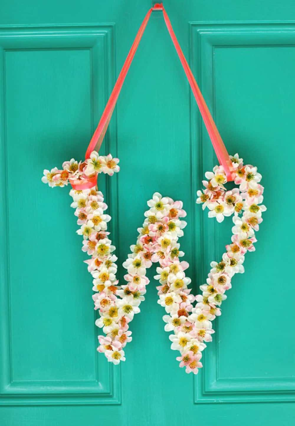 Monogram faux floral wreath diy