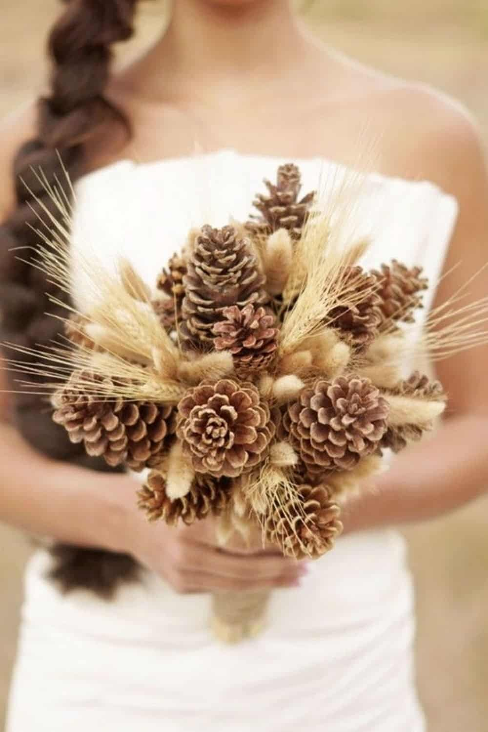 Pinecone and wheat bouquet