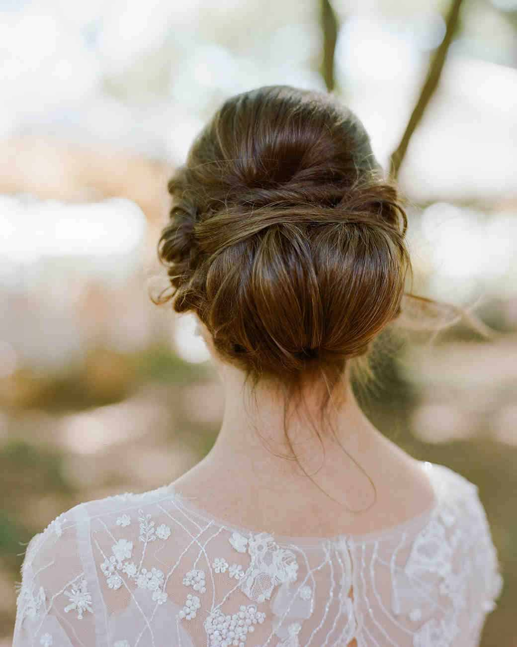 Romantic low bun wedding hair