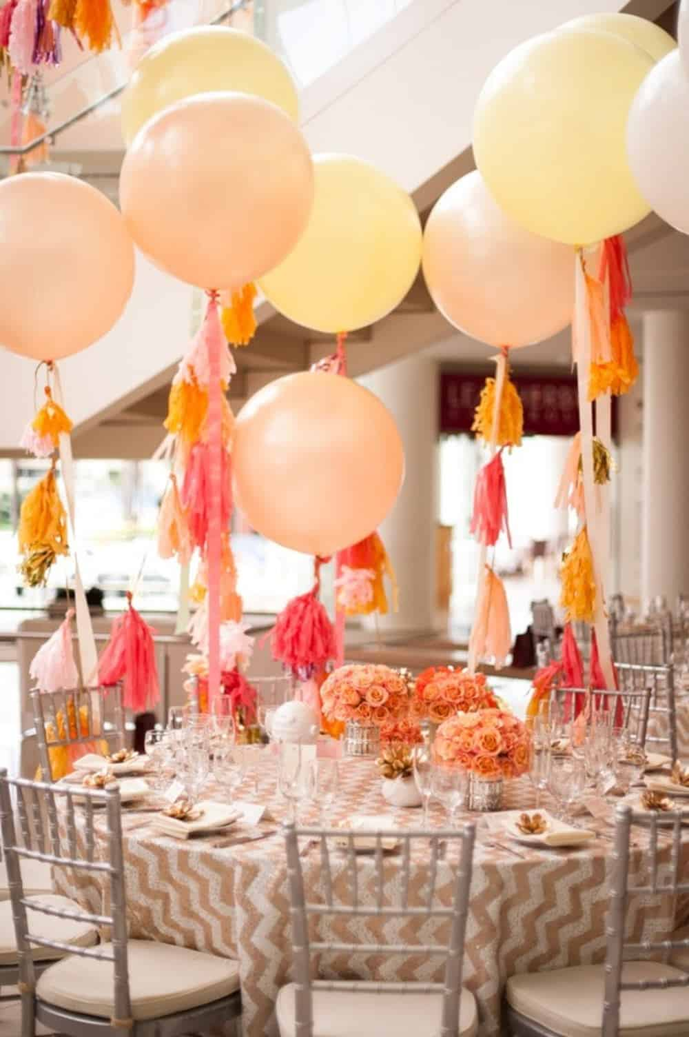 Tassled balloons centerpiece