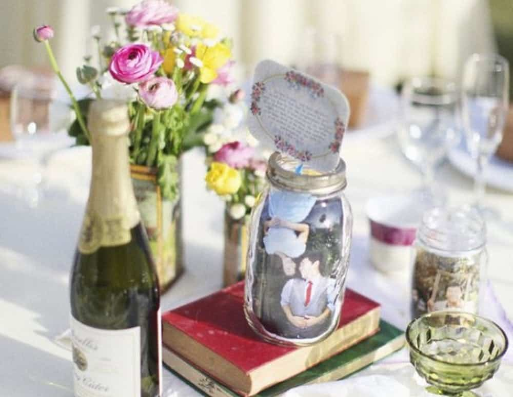 Wedding diy photo mason jar