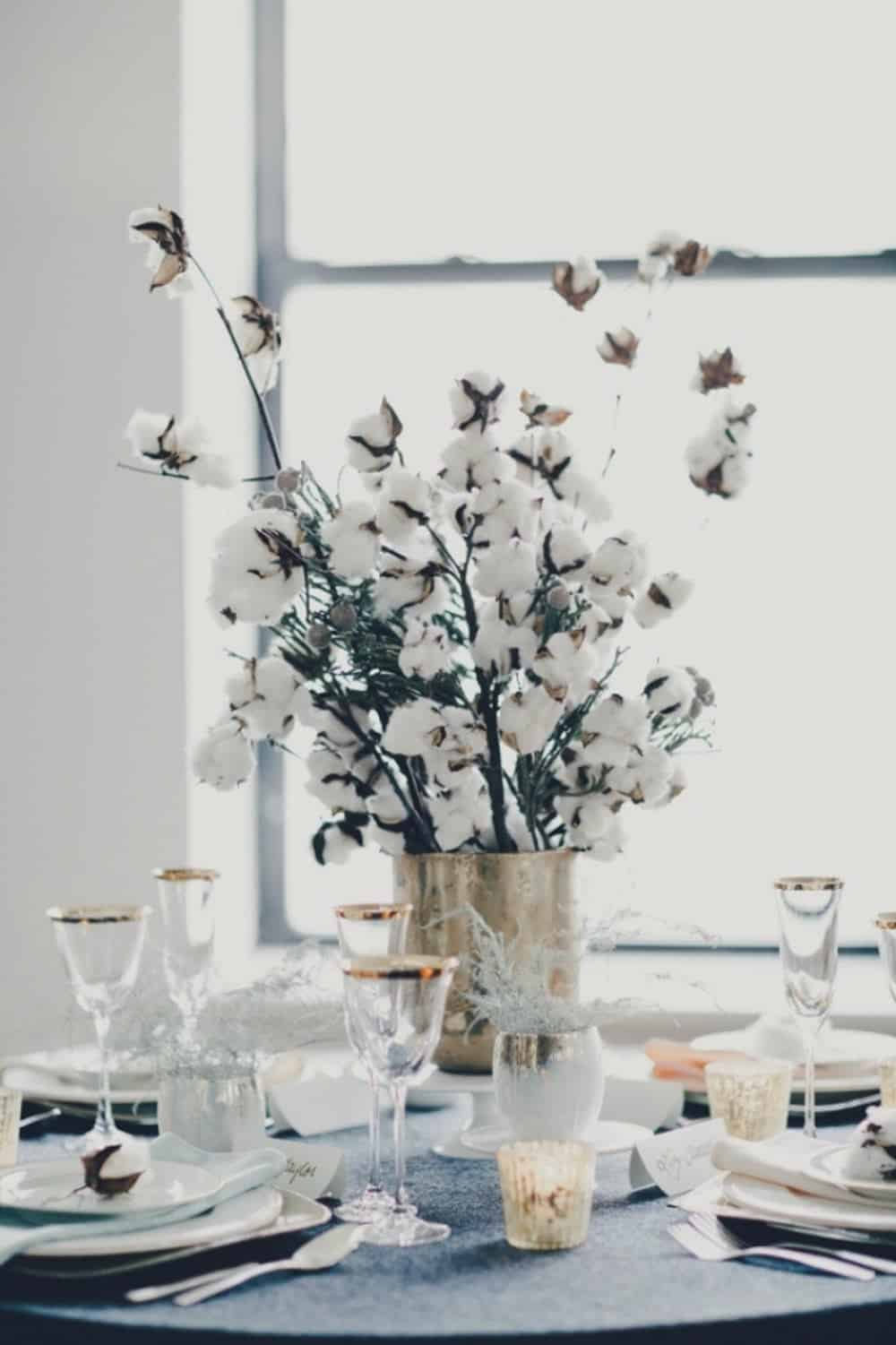 Winter cotton diy centerpiece