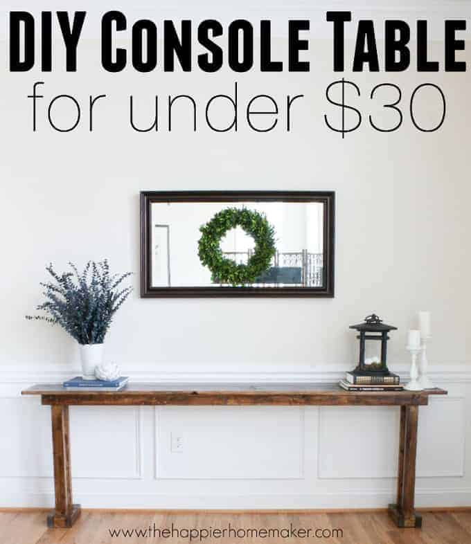 Affordable reclaimed wood entry table