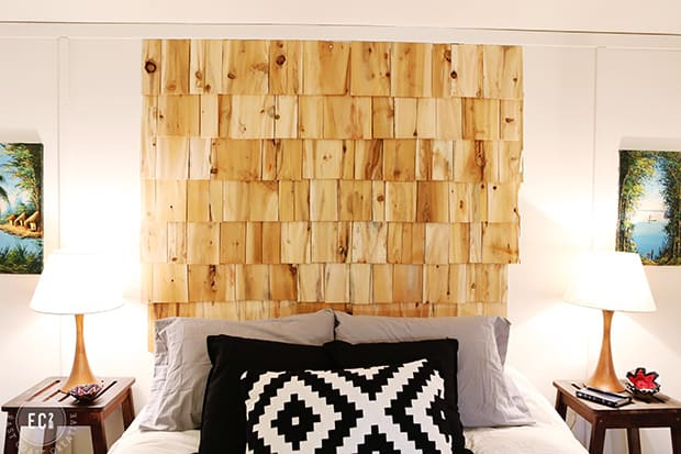 Cedar shingle headboard