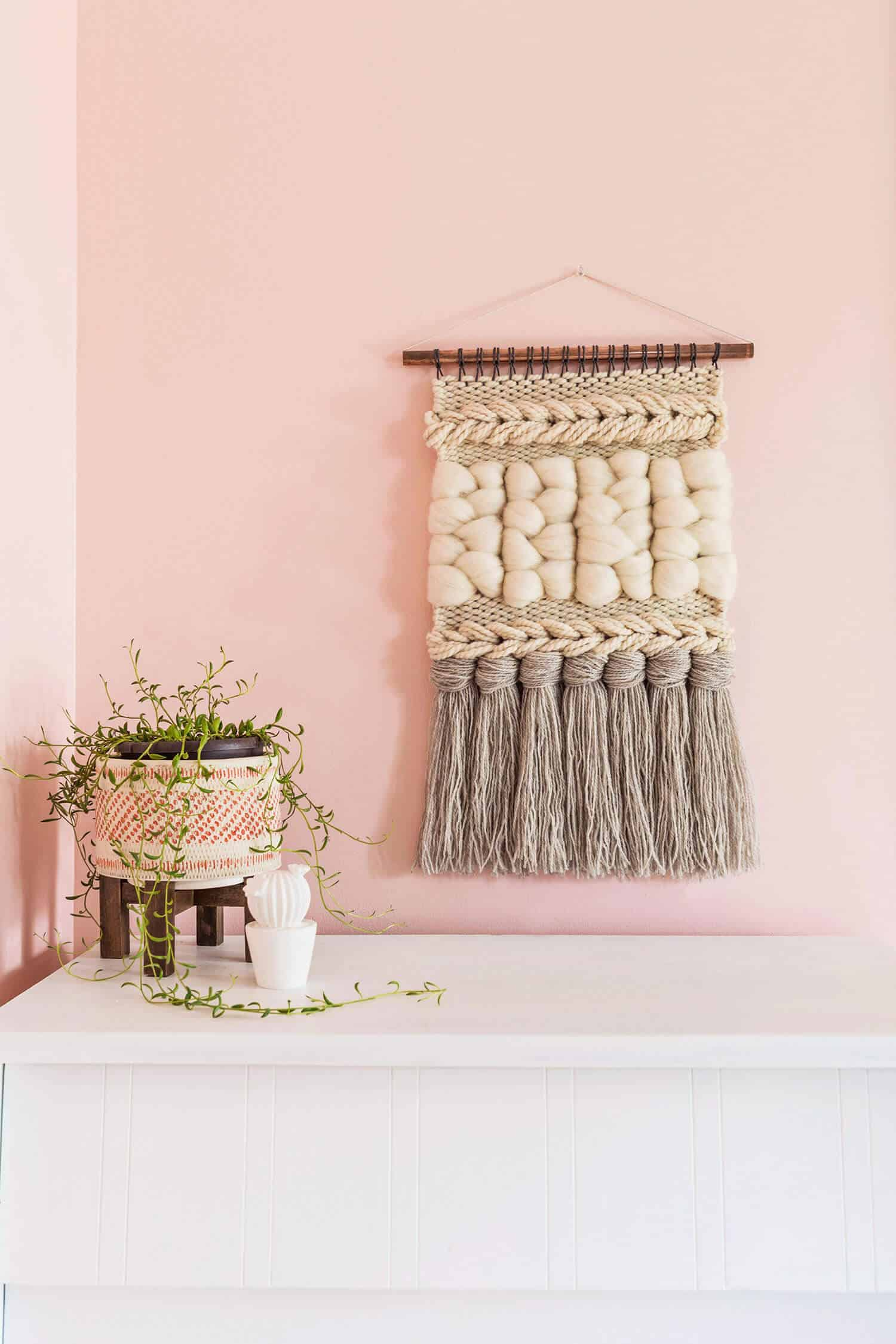 Chunky braid and tassel woven wall hanging