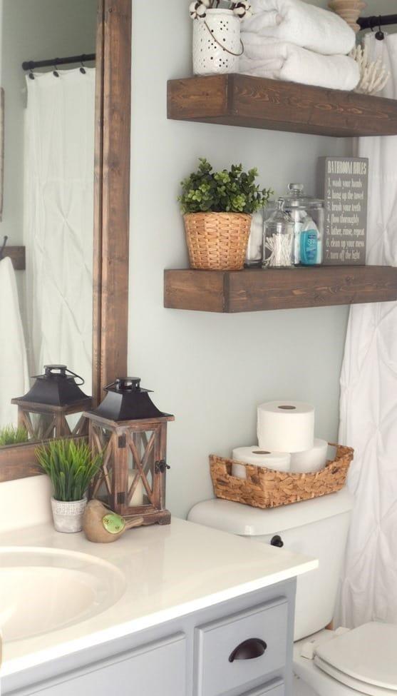 Chunky wooden floating shelves
