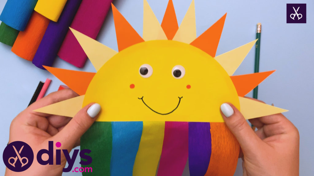 Colorful how to make a rainbow paper sun