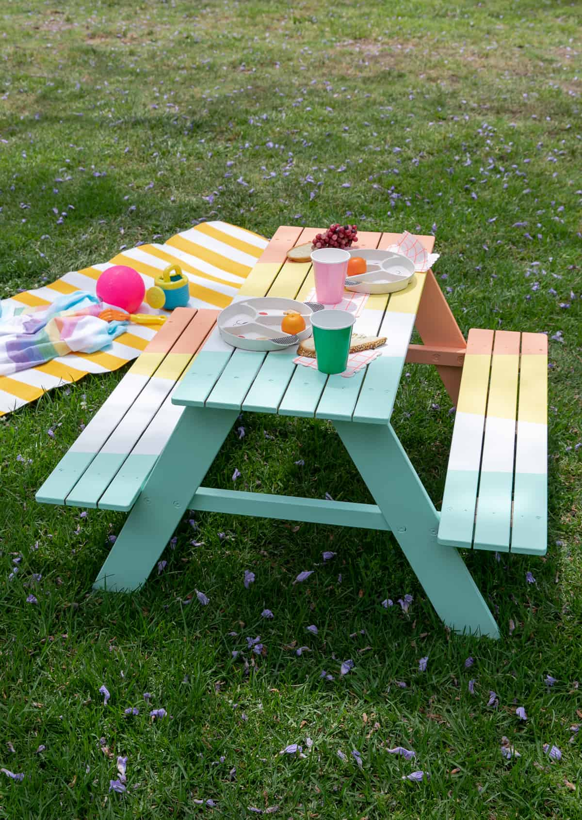 Colourful painted picnic table
