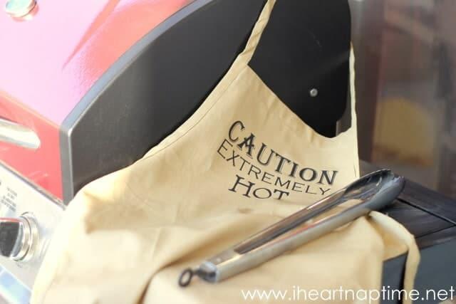 Custom heat vinyl grilling apron