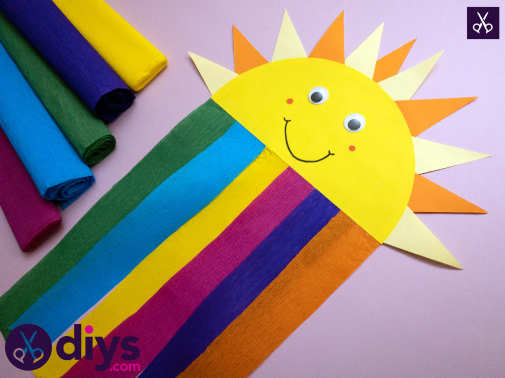 Diy how to make a rainbow paper sun