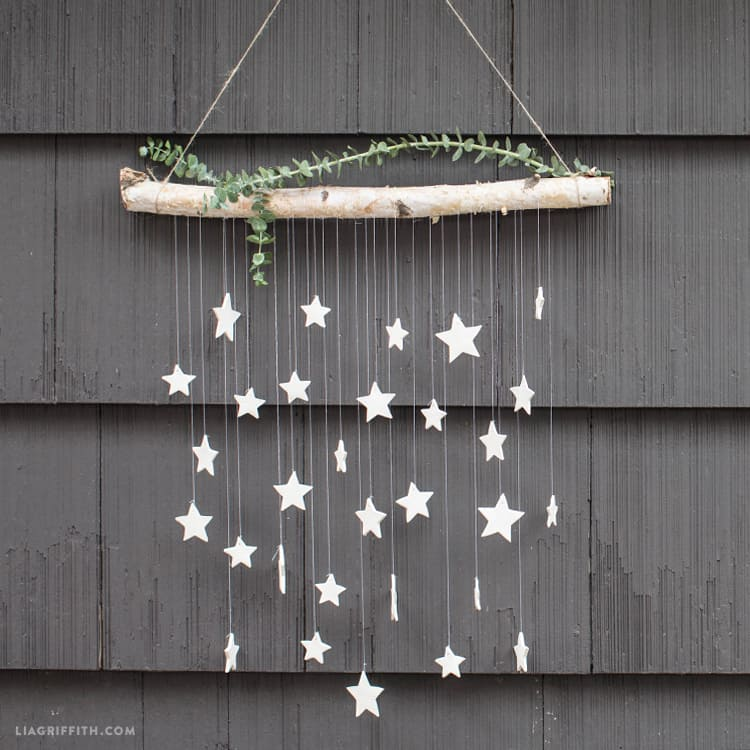 Diy branch and stars wall hanging