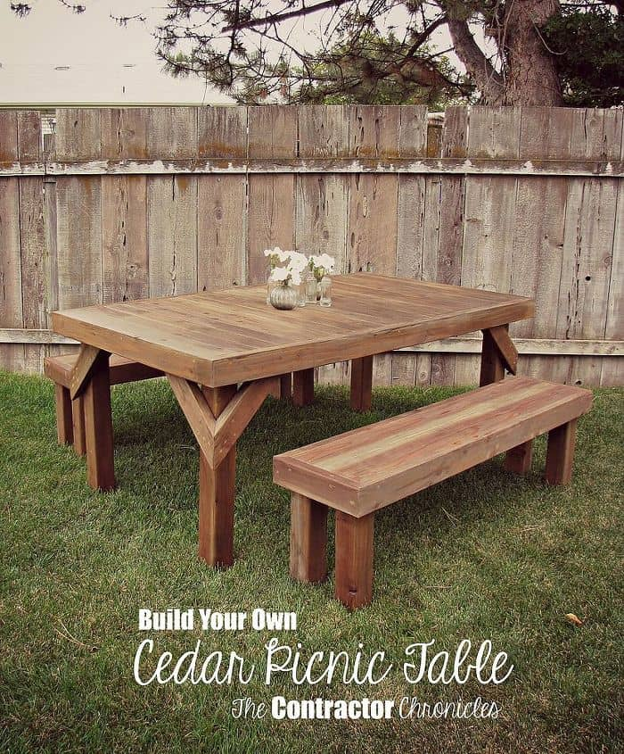 Diy cedar outdoor dining table