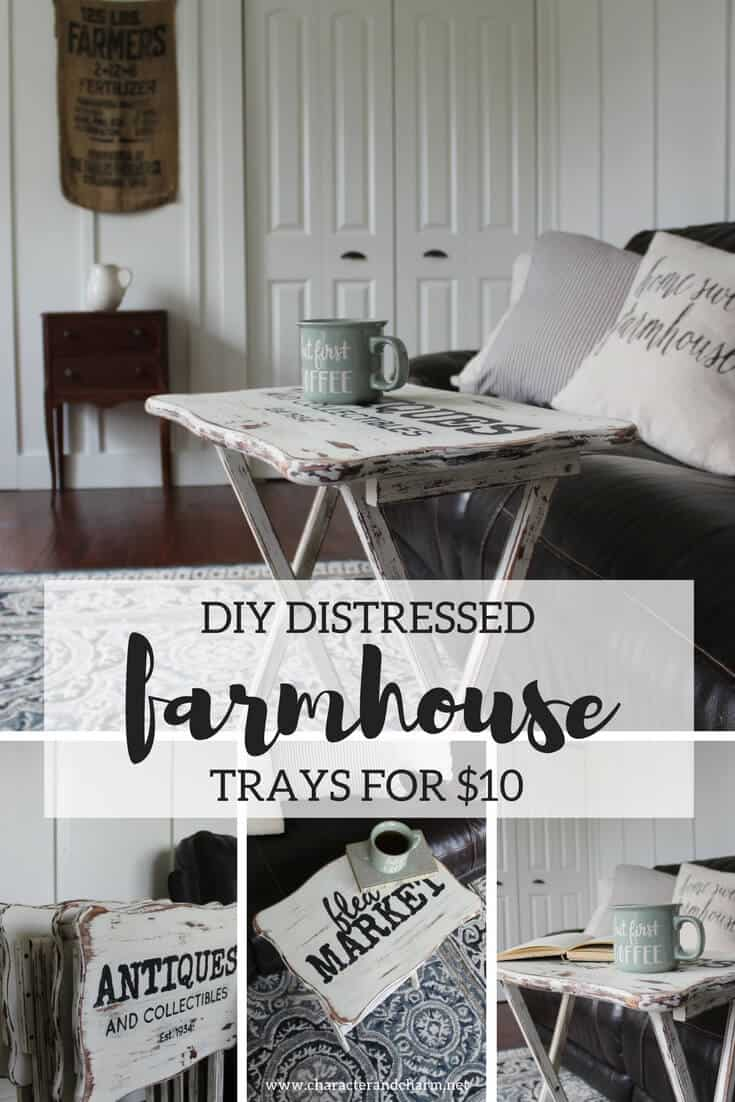Diy distressed farmhouse tray tables