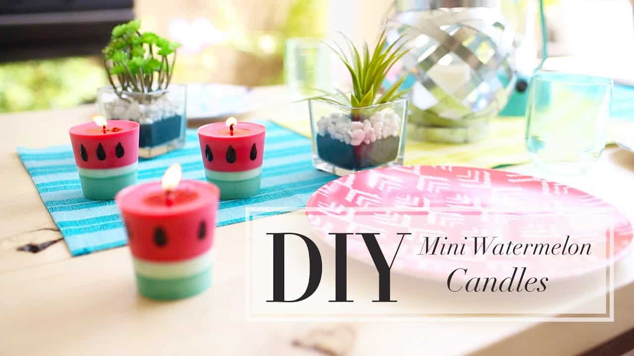 Diy mini watermelon candles