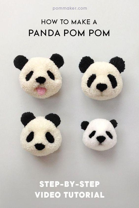 Diy panda pom poms