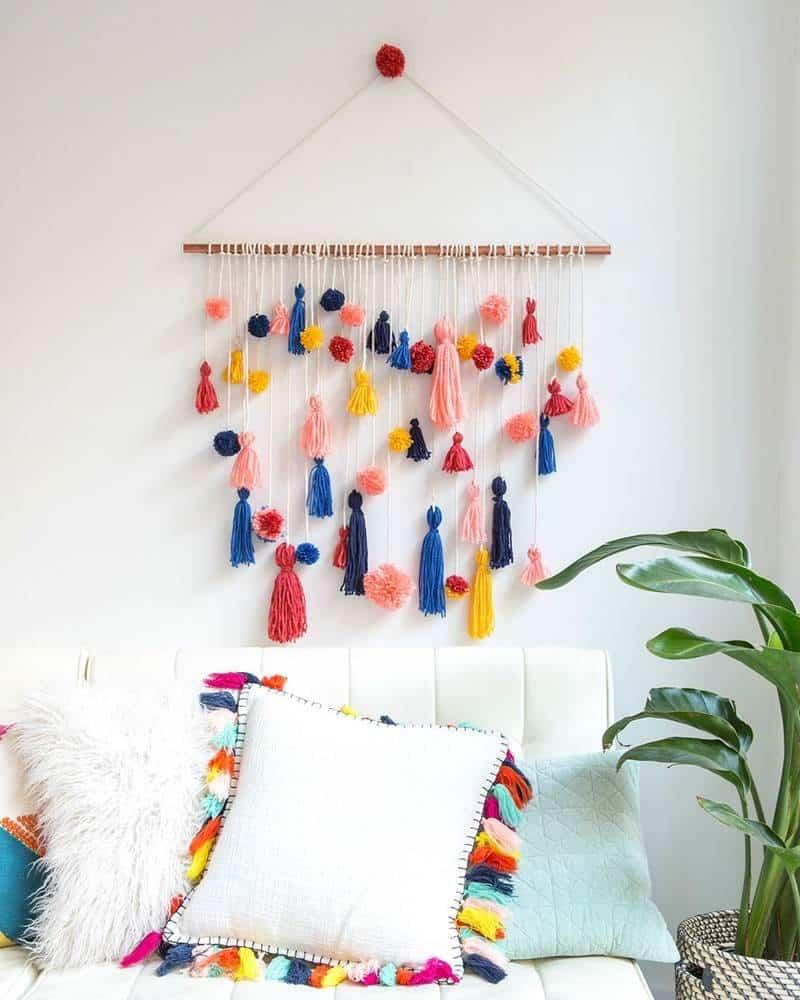 Diy pom pom and tassel wall hanging