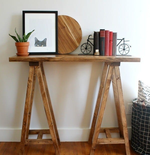 Diy sawhorse entry table