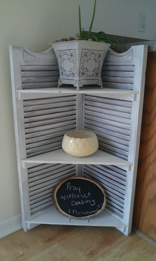 Diy shutter corner shelf