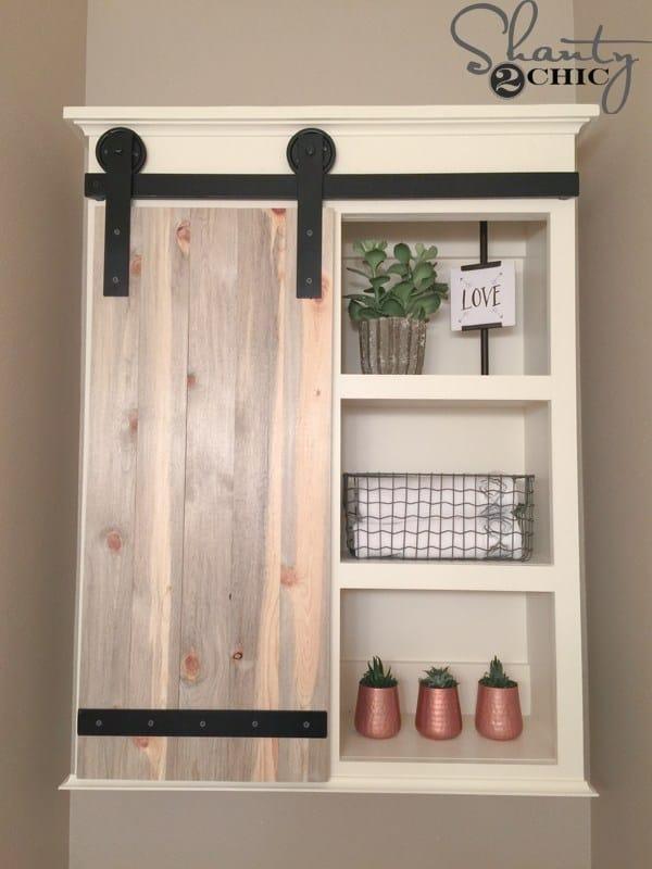 Diy sliding barn door bathroom cabinet
