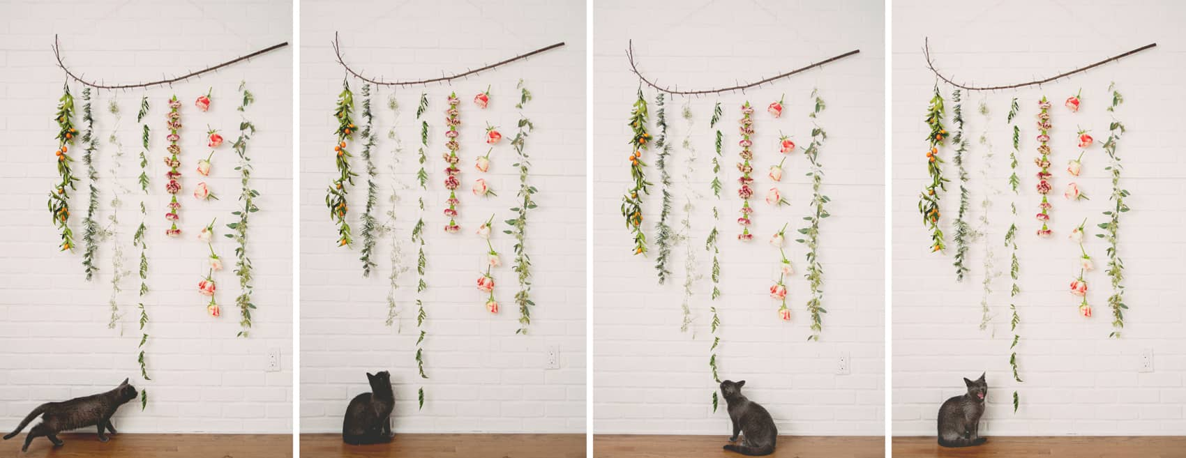 Delicate flower garland wall hanging