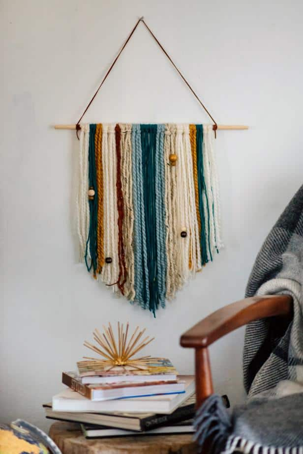 Easy diy yarn and wooden bead wall hanging