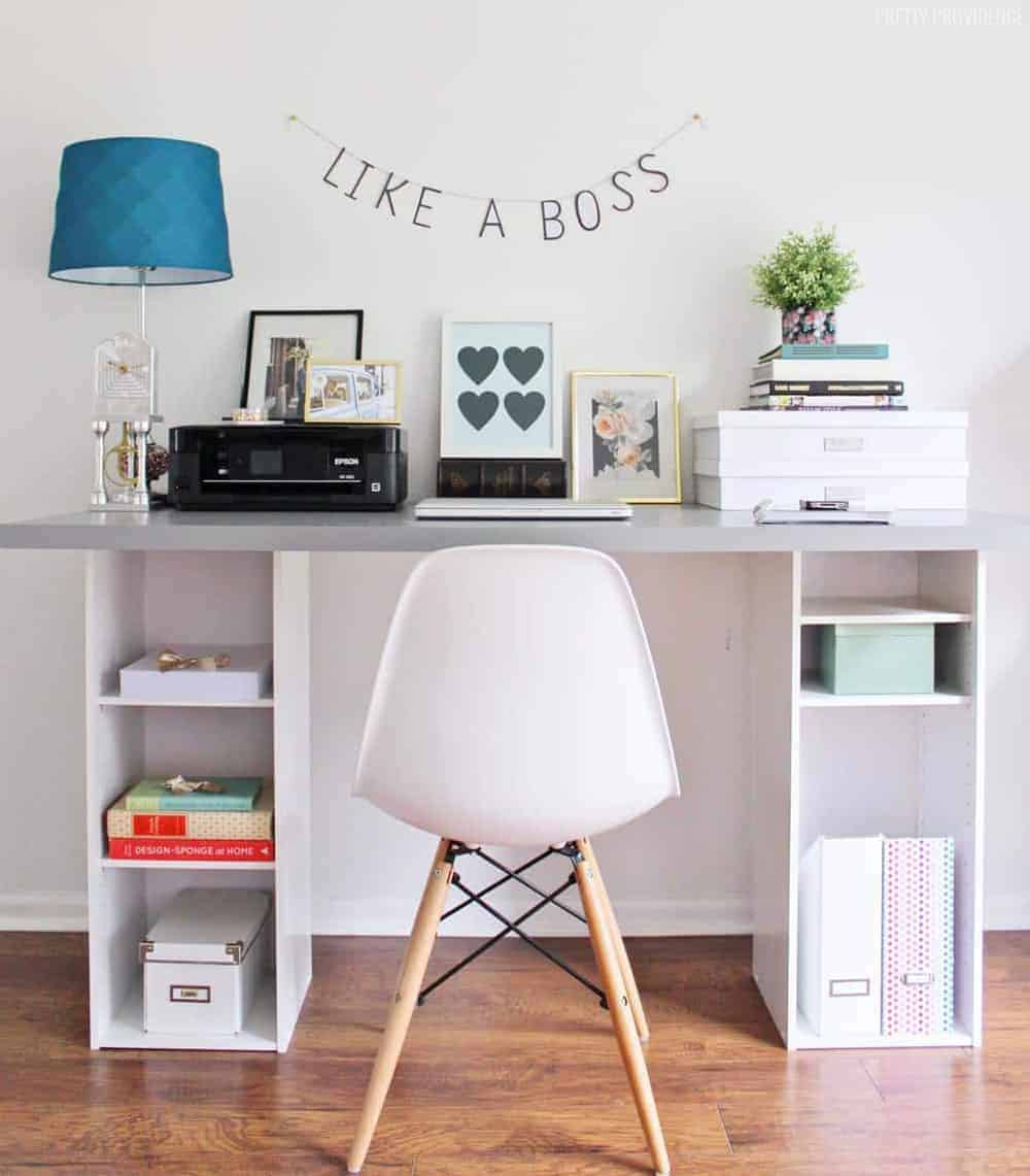 Easy ikea hack desk with cubby shelves